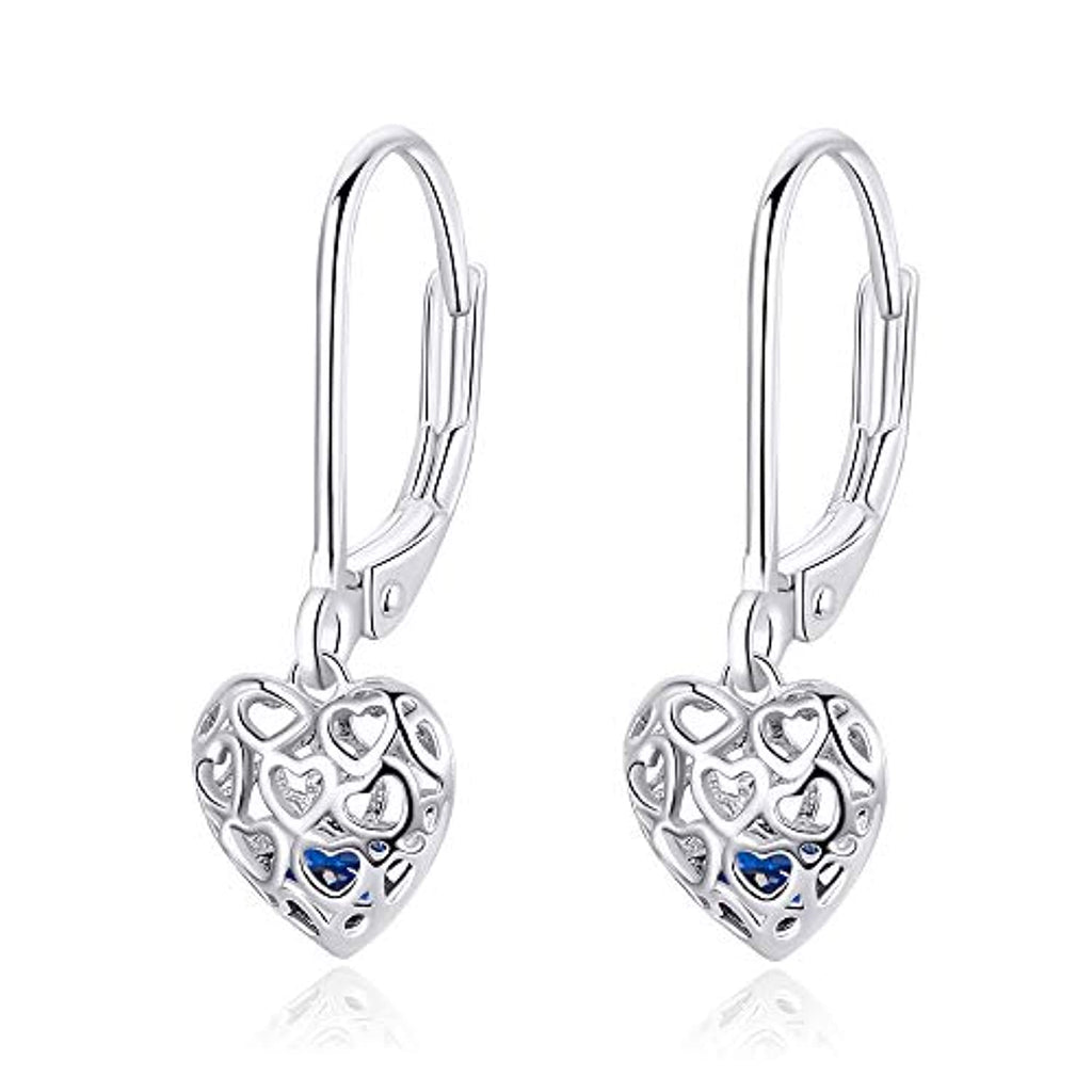 Silver  Cute Love Heart Drop Earring