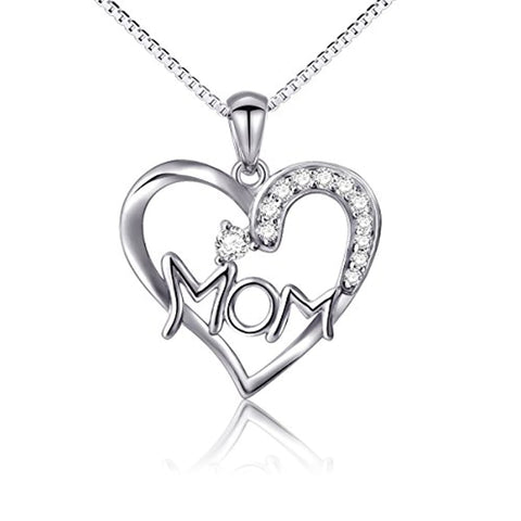 I Love You Mom Heart Necklace