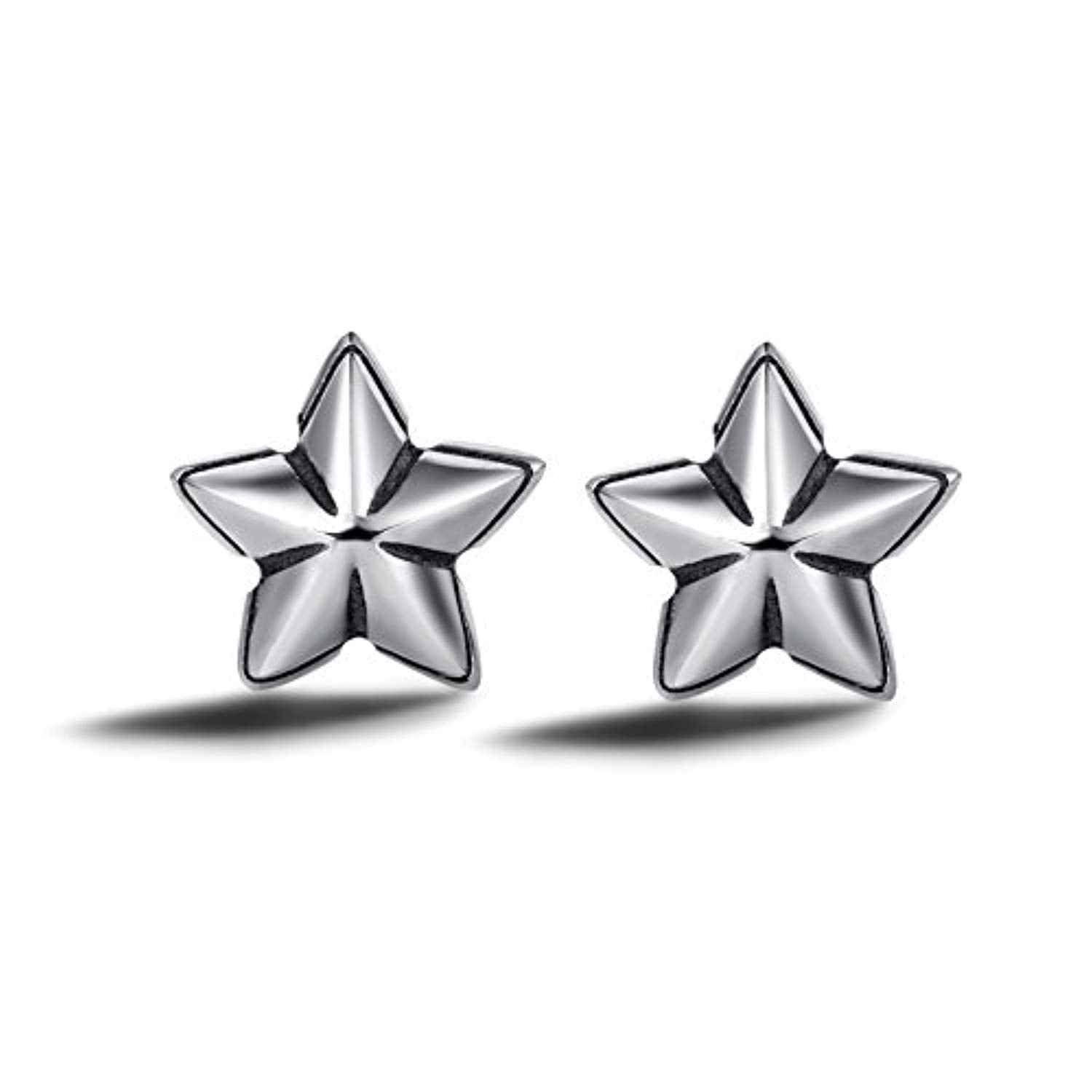 925 Sterling Silver Tiny Cute Starfish Stud Earrings Setting Cubic Zirconia CZ Trendy Jewelry Gifts for Women Girls