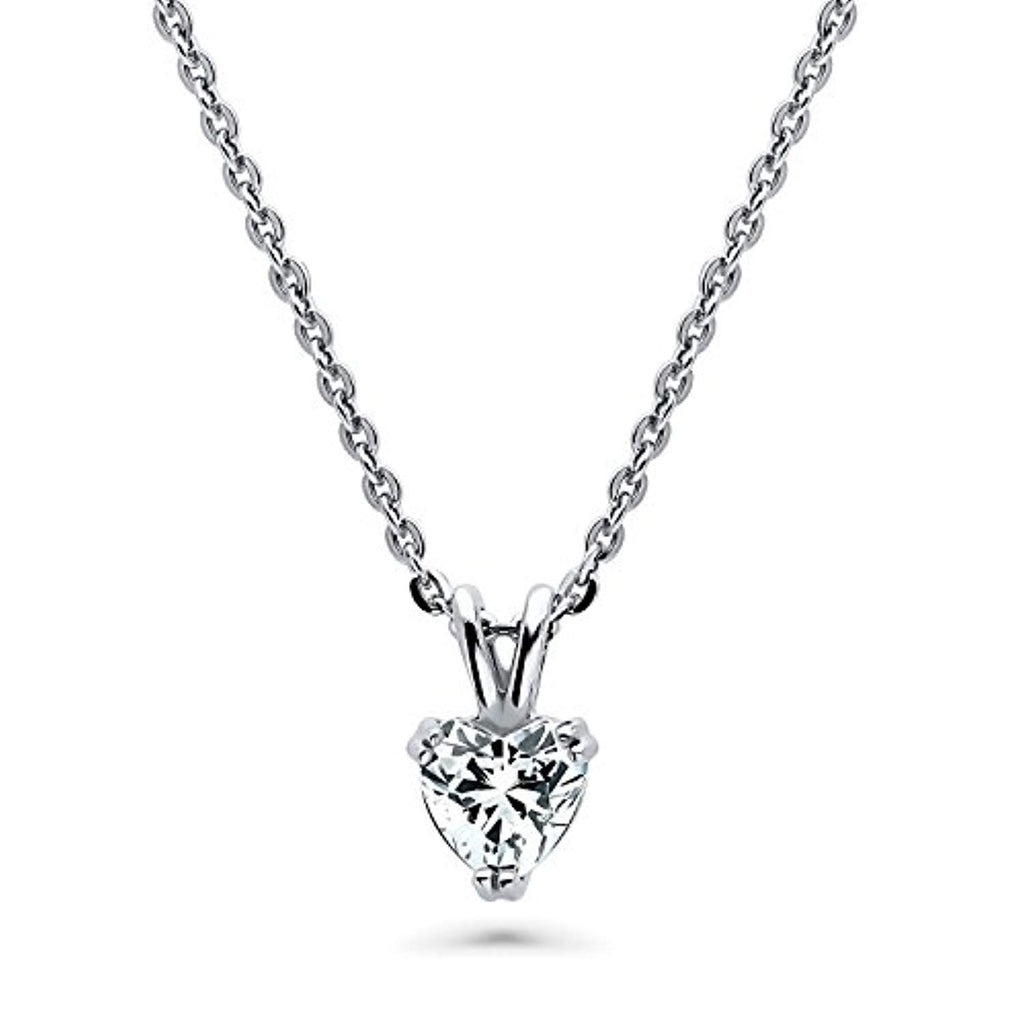 Rhodium Plated Sterling Silver Solitaire Heart Anniversary Wedding Pendant Necklace Made with Swarovski Zirconia