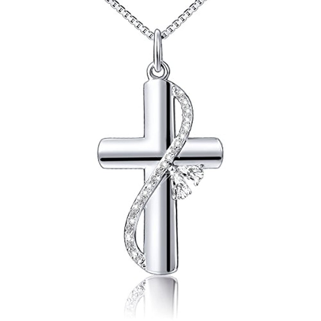 925 Sterling Silver Cubic Zirconia Faith Hope Love Cross Pendant Necklace for Women Girls Christian Birthday Easter Gifts