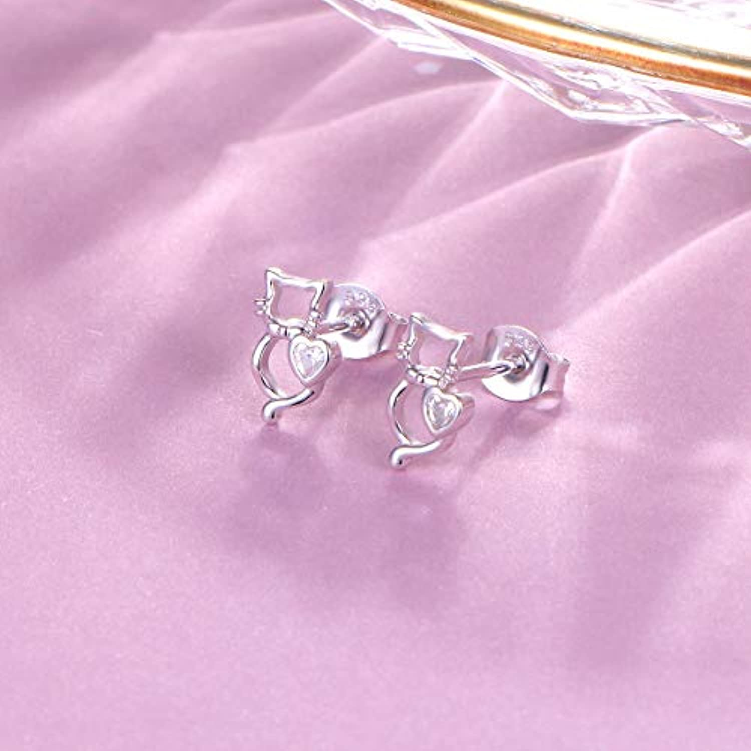 925 Sterling Silver Animal Ear Studs Small Cute Cat Stud Earrings for Women Teen Girls Gift