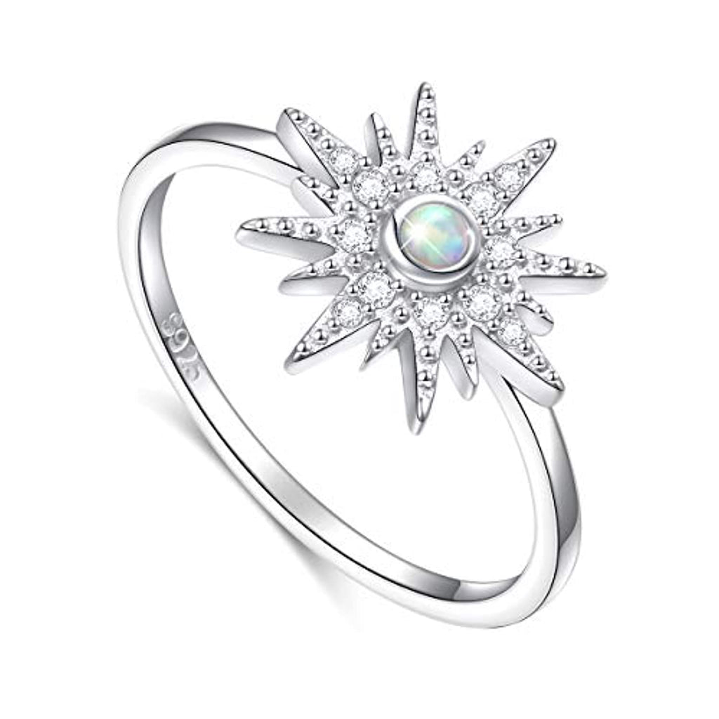 Lab Created Opal CZ Starburst Ring