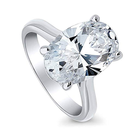 Rhodium Plated Sterling Silver Oval Cut Cubic Zirconia CZ Statement Solitaire Engagement Ring