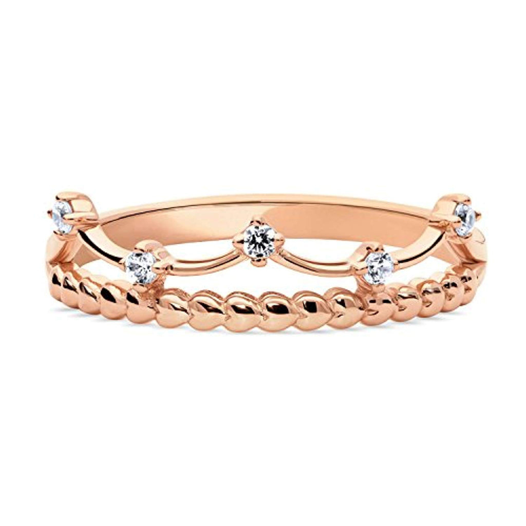 Rose Gold Plated Sterling Silver Cubic Zirconia CZ Crown Bead Promise Ring