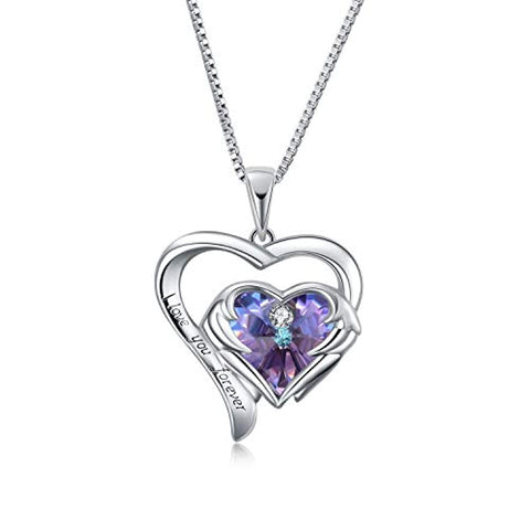 Silver I Love You Forever Heart Pendant Necklace from Swarovski Crystals