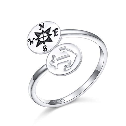 Compass Anchor 925 Sterling Silver Adjustable Ring