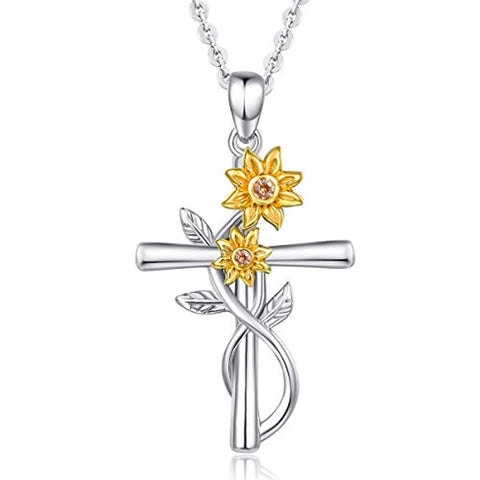 Silver Sunflower cross Necklace