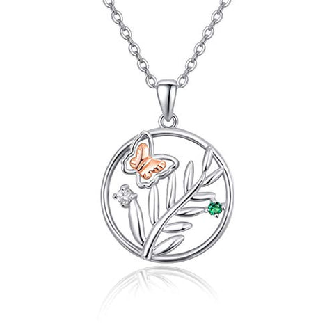 Silver Butterfly Tree of Life Pendant Necklace