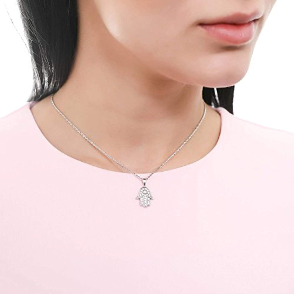 Rhodium Plated Sterling Silver Cubic Zirconia CZ Hamsa Hand Fashion Pendant Necklace
