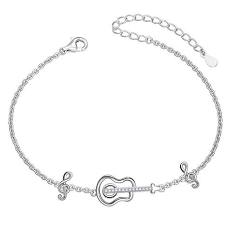 Silver Guitar Music Themed Music Clef Bracelet