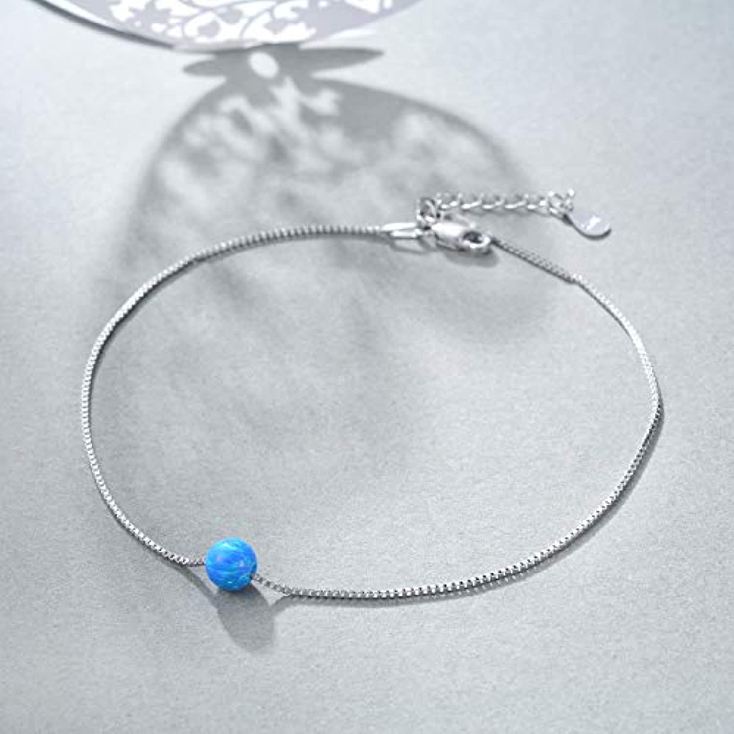 S925 Sterling Silver Opal Anklet  for Women Girls Gifts