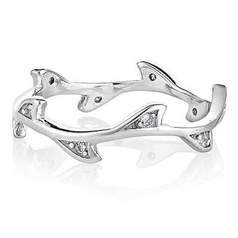 925 Sterling Silver Cubic Zirconia CZ Infinity Olive Branches Band Ring Jewelry