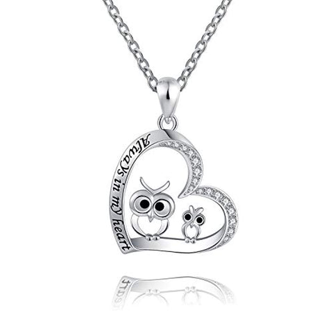 Silver Owl Always in My Heart Pendant Necklace