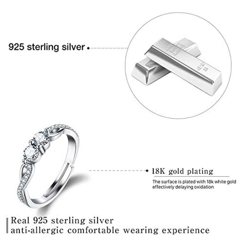 925 Sterling Silver Rings Twisted Rings with Double Round Cut Birthstone Cubic Zirconia Adjustable Rings for Women