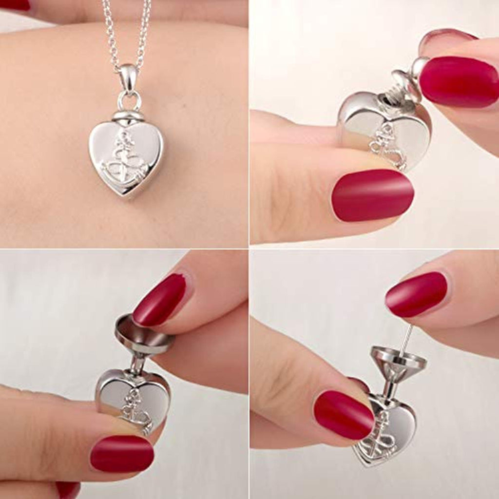 925 Sterling Silver Heart Cremation Jewelry Keepsake Anchor Urn Necklace for Ashes : Forever in My Heart