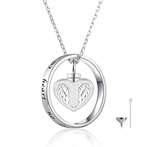 Silver Angel Wings Cremation Jewelry Keepsake Heart Urn Pendant Necklace
