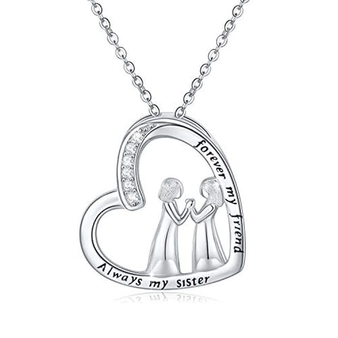 Silver CZ Heart Pendant Necklaces
