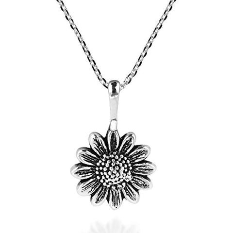 Silver Sunflower Pendant Necklace