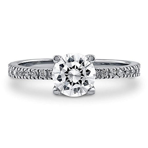Rhodium Plated Sterling Silver Round Cubic Zirconia CZ Solitaire Promise Engagement Ring
