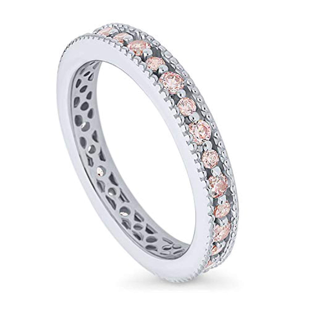 Rhodium Plated Sterling Silver Stackable Milgrain Art Deco Anniversary Fashion Right Hand Eternity Band Ring Made with Swarovski Zirconia Morganite Color
