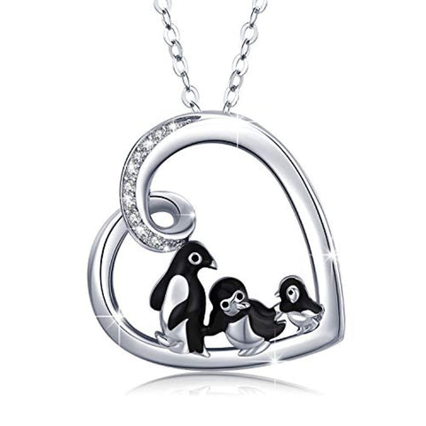 Silver Penguin Heart Pendant Cute Animal Necklace