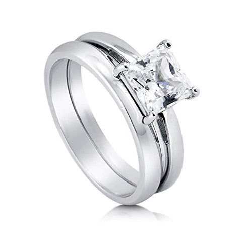 Rhodium Plated Sterling Silver Princess Cut Cubic Zirconia CZ Solitaire Engagement Wedding Ring Set