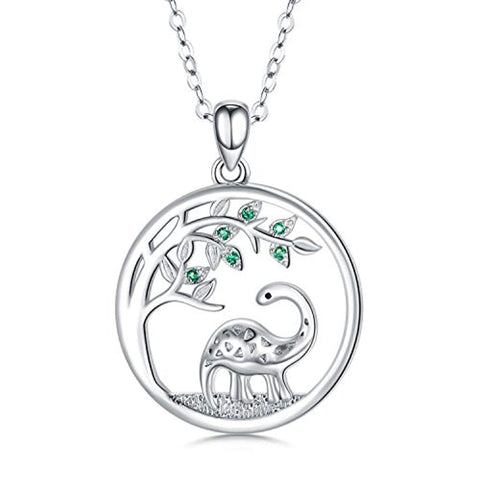 Silver Tree of Life Dinosaur Necklace Pendant