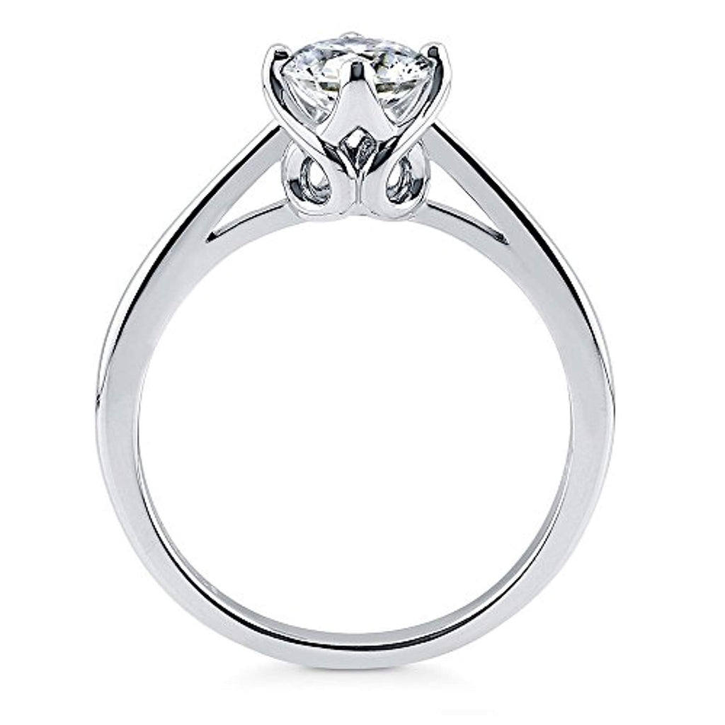 Rhodium Plated Sterling Silver Solitaire Engagement Ring Made with Swarovski Zirconia Round