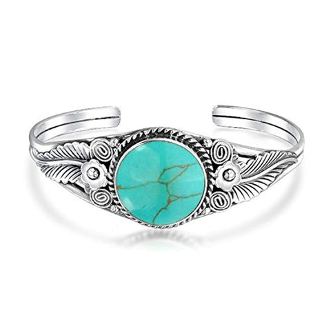 Southwestern Navajo Style Oval Cabochon Stabilized Turquoise Cuff Bracelet For Women Leaf Motif 925 Sterling Silver