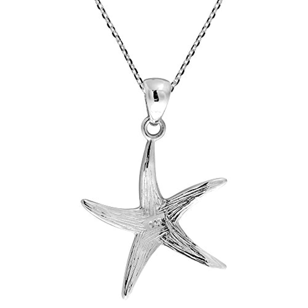 Mystical Starfish Multicolor Mother of Pearl 925 Sterling Silver Pendant Necklace