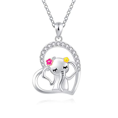 Silver beautiful elephant with flower Heart Elephant Pendant Necklace
