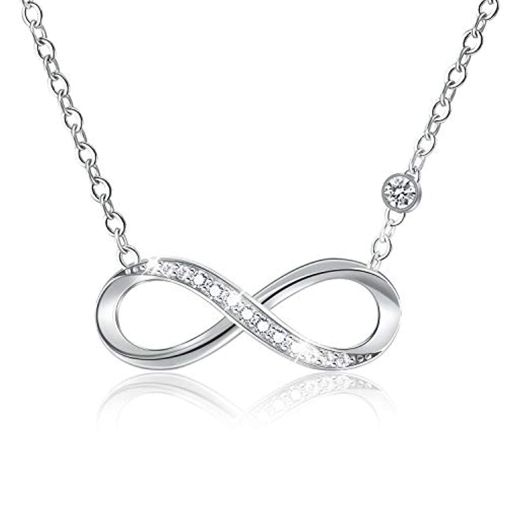 S925 Sterling Silver Infinity Necklace 5A Cubic Zirconia CZ Endless Love Pendant with Necklaces Jewelry for Women and Girls