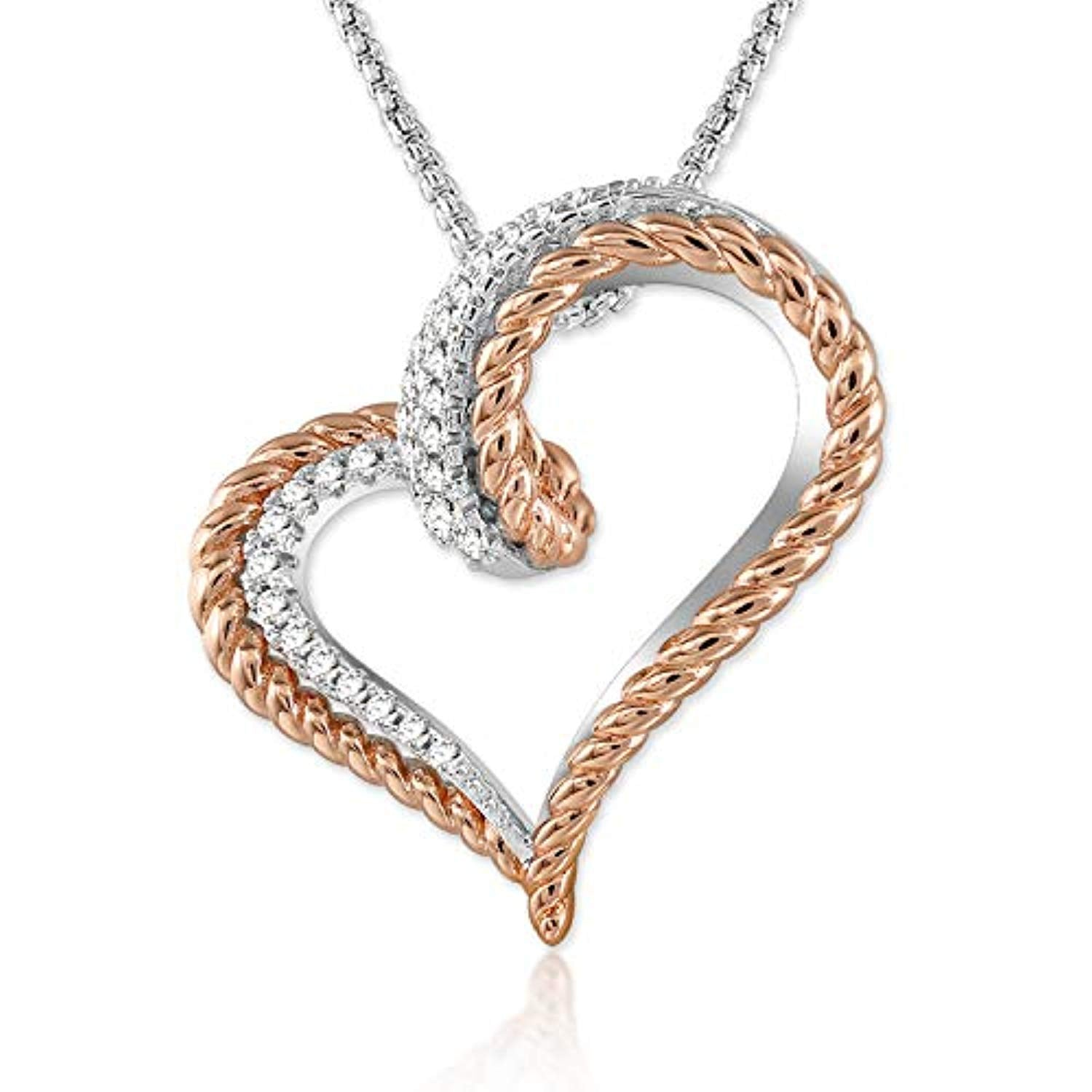 Women Love Heart Pendant Necklace Adjustable 18 Inches Rose Gold Heart Necklaces Jewelry Gifts for Wife Girlfriend