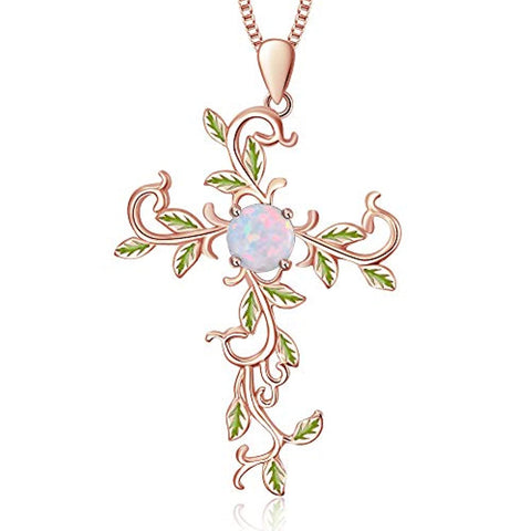ilver  Opal  Rose Gold Plated Leaf Necklace