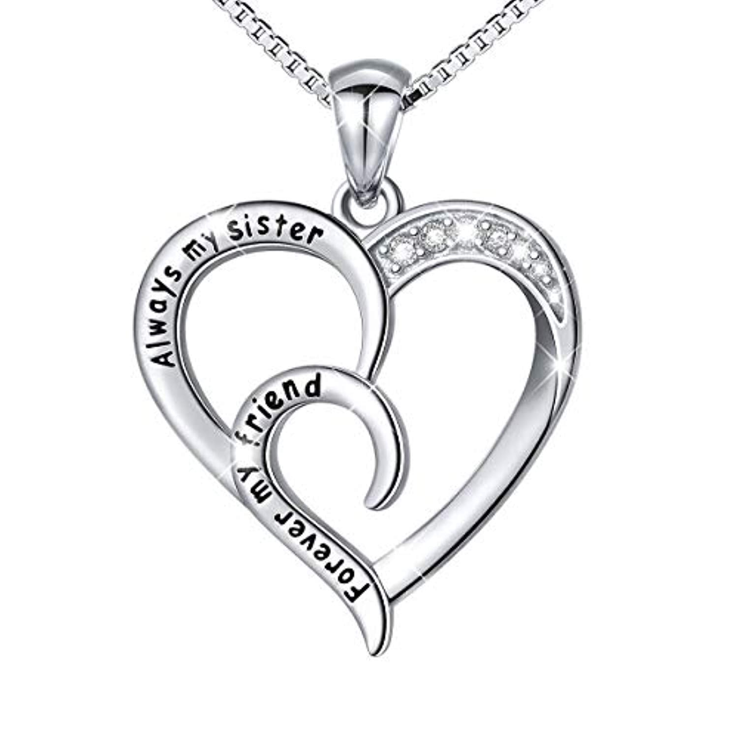 Sterling Silver Always My Sister Forever My Friend Big Sis Lil Sis Best Friend Necklace