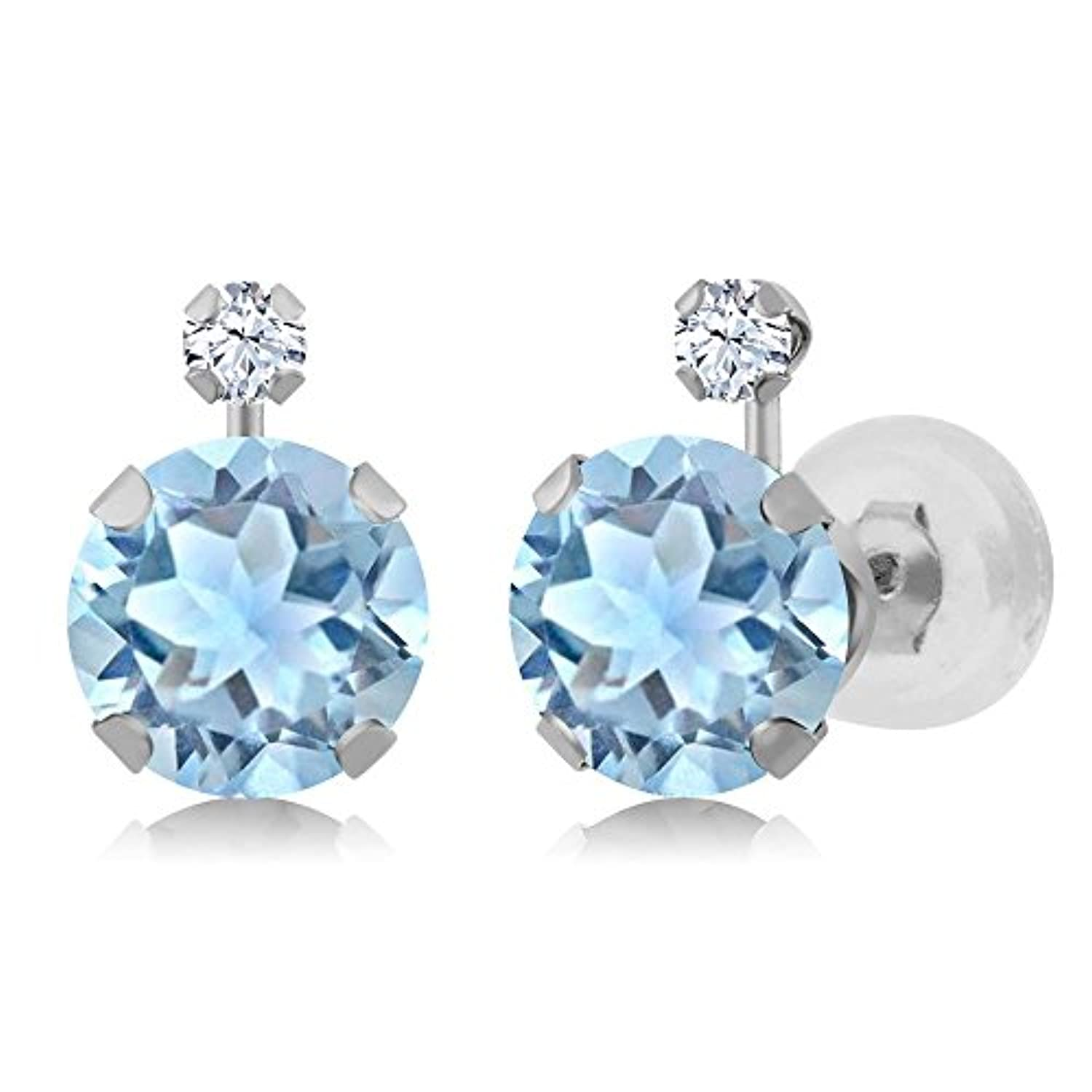 14K  Gold Sky Blue Aquamarine and White Created Sapphire Stud Earrings