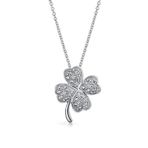 Irish Shamrock Lucky Charm Pave CZ Four Leaf Clover Pendant Necklace For Women For Teen 925 Sterling Silver