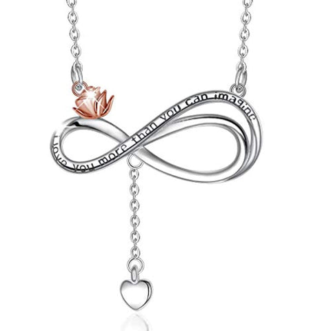 S925 Sterling Silver Infinity Heart Necklace for Women, Forever Love Rose Heart Pendant Necklaces