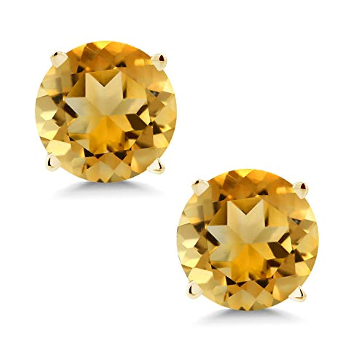 14K  Gold Yellow Citrine Stud Earrings  Round Gemstone For Women