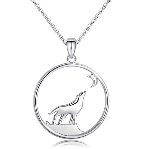 925 Sterling Silver Wolf Necklace Viking Jewelry for Men and Women