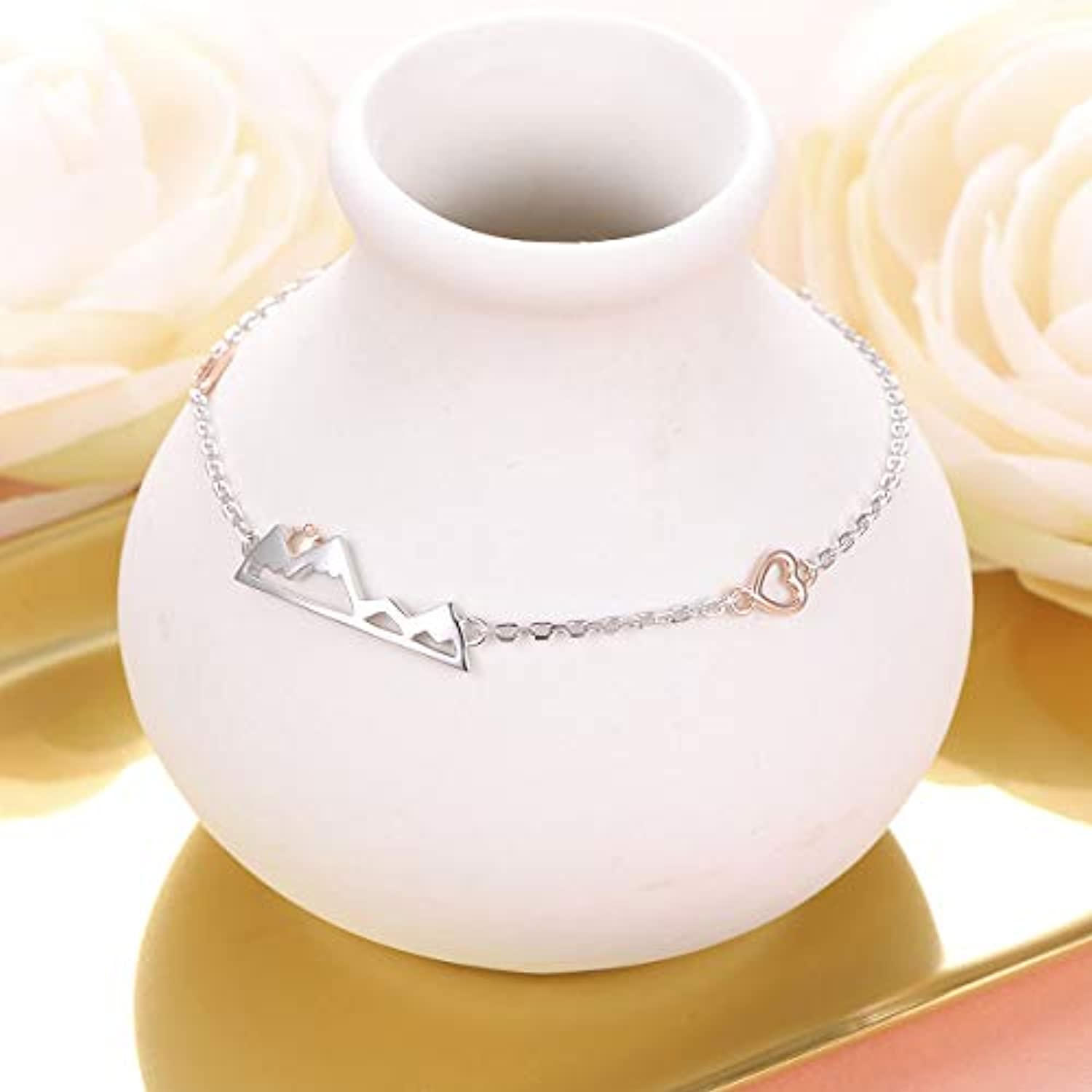 925 Sterling Silver Snow Caps Mountain Heart Range bracelet Gift for Women Teen Girls Hikers Outdoor Lovers