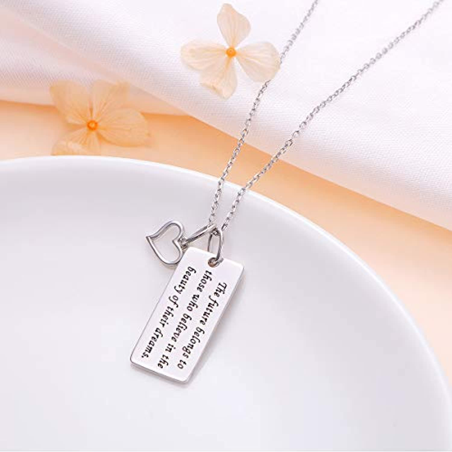 925 Sterling Silver The Future Belongs To Those Who Believe In The Beauty Of Their Dreams Inspirational Quote Graduation Necklace For Women
