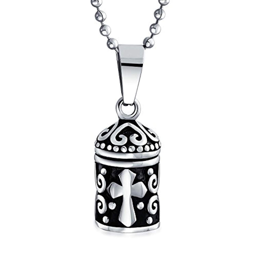 Keepsake Memorial Prayer Box Cross Locket Pendant Necklace for Teen Women for Men Oxidized 925 Sterling Silver