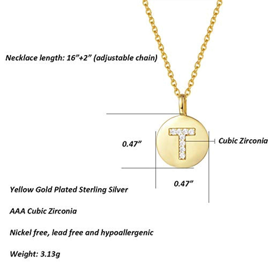 Gold Plated Sterling Silver Initial Pendant Necklace Round Disc CZ Initial Dainty Alphabet Necklace
