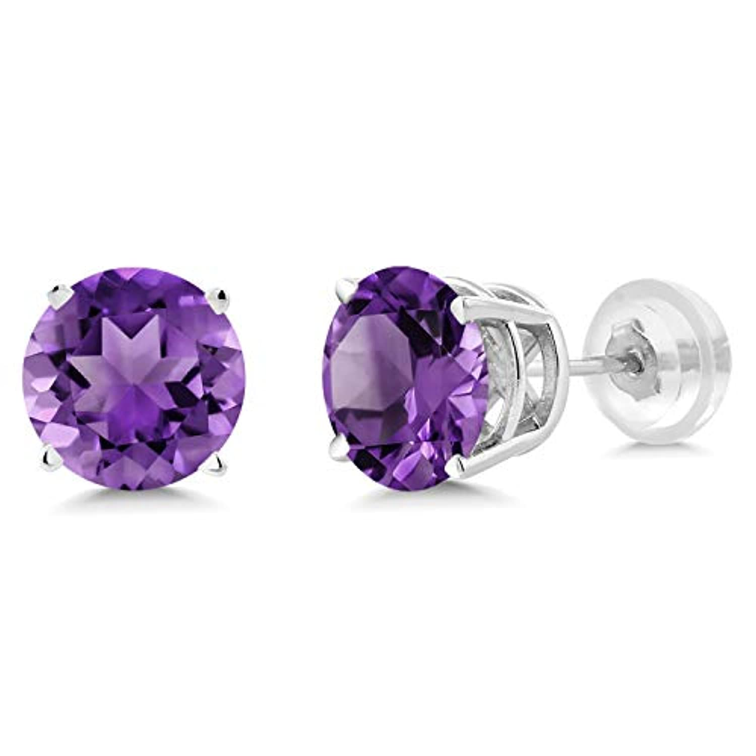 14K Gold Purple Amethyst Stud Earrings