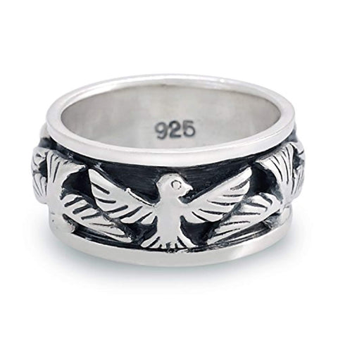 925 Oxidized Sterling Silver Eagle Thunderbird Bird Native Indian Band Ring - Nickel Free