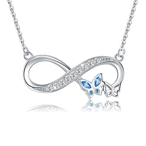 Silver Infinity Blue Cubic Zirconia Butterfly Jewelry