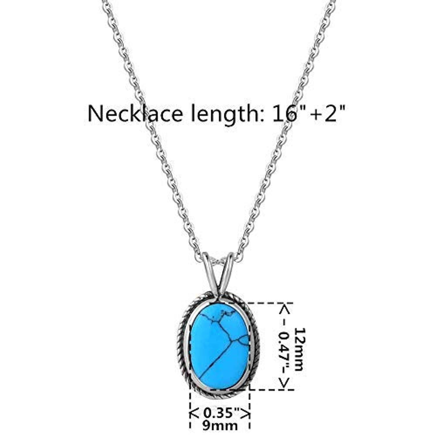 Sterling Silver Created Turquoise Oval Pendant Necklace Fine Jewelry Gifts