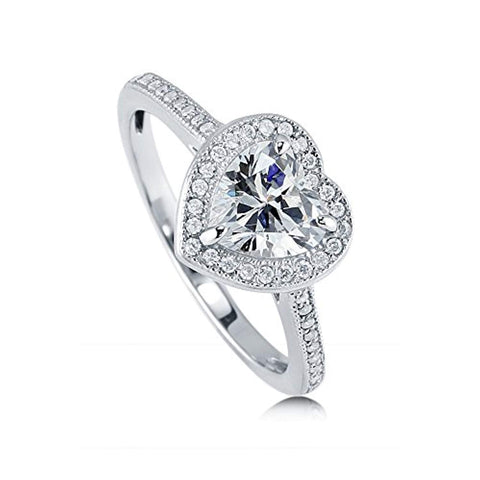 Rhodium Plated Sterling Silver Heart Shaped Cubic Zirconia CZ Halo Promise Engagement Ring